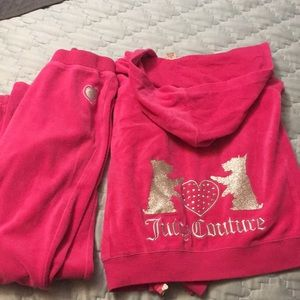 Juicy couture size 12 girls pink velour set dog